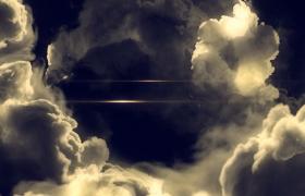 云霧遮罩陽光金色散射平行線條包裝史詩級特效文字標題PR模版