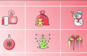粉色背景白色九宫格框架展示圣诞节装扮元素MG动画AE模板