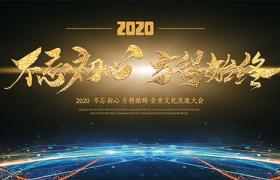 彩色光线科技风闪耀金箔字体2020企业文化交流大会海报展板素材