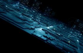 科技3D光线电路板芯片组展示科技数据航天急速发展动画高清视频素材
