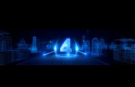 蓝色科技粒子线条城市点亮街道5秒倒计时高清视频素材