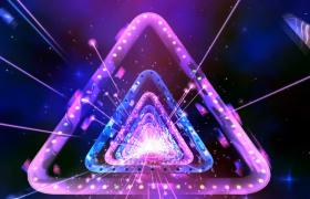 三维空间七彩三角形通道循环穿梭粒子线条拖尾高清舞台动态背景视频素材