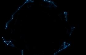 空间三维Plexus粒子科技几何连线黑洞隧道闪烁穿越动态背景视频素材