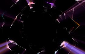 七彩玻璃质感Plexus粒子空间平面几何科技连线三维宇宙黑洞穿梭高清动态视频素材