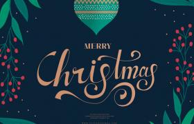 深色系花環葉子裝點Christmas圣誕節節日平面素材