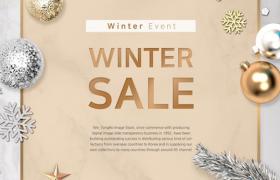 雪花铃铛元素大理石背景WinnerSale冬季促销平面素材参考