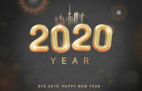 黑色炫酷背景烟花城市配图2020气球数字新年海报素材下载
