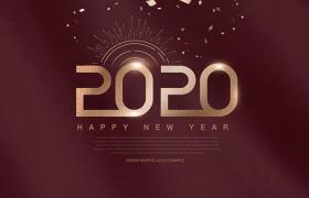 质感酒红色金箔2020字体新年宣传平面素材