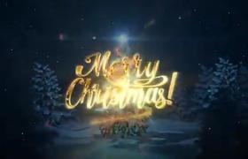 3D效果黃藍粒子光束纏繞點亮美麗新年圣誕樹祝福開場AE模板