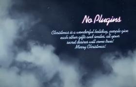 夢幻夜空煙霧雪花飄揚圣誕節文字祝福節日開場AE模板