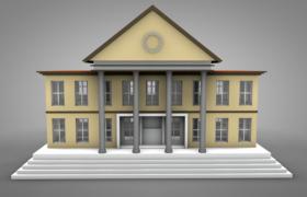 人名政府检察院卡通动画建筑C4D模型(含贴图)