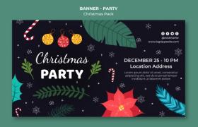 時尚炫酷圣誕元素點綴Christmas圣誕節精致banner平面素材
