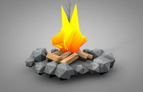 C4D明亮卡通版低面石头篝火静帧游戏模型(含贴图)