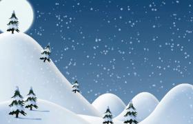 晶莹雪花飘落唯美雪景动画效果圣诞节节日视频素材