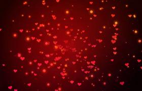 红色小爱心从中央无限泛滥扩散婚庆表白视频背景