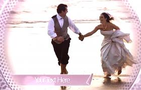 高貴紫色浪漫粉色圓形卷腳光斑甜蜜婚禮相冊展示AE模板