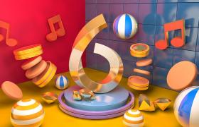 C4D三维空间预设:七彩幸运音符彩色卡通舞台6号场景模型展示