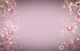 两侧爱心状彩环伴随着闪耀星星飘落婚庆特效视频素材