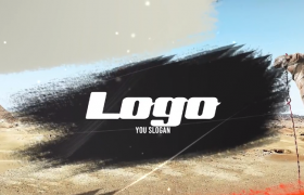 橙色格式刷勾芡装饰电子相册图文展示创意LOGO片头PR视频模板