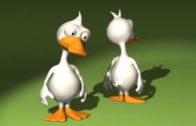 白色可達鴨卡通動畫人物角色C4D模型(c4d/3dmax/fpx格式)
