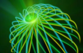 高清黄绿蓝三色辐射轨迹波纹运动动画LED视频素材下载