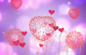 爱心烟花绮丽绽放粉色爱心无限跳跃扩散5秒婚庆表白特效视频背景