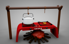 卡通創意設計戶外炊具紅色烘烤架灶臺C4D模型(含貼圖)
