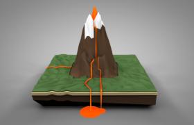 高耸入云的尼日利亚活火山卡通低面体C4D场景预设+绑定动画