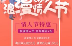 2.14浪漫情人节卡通情侣鲜花插画花店促销广告平面素材