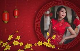 2020年喜庆中国风梅花灯笼圆环图文展示新年AE模板