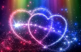 七彩線條粒子滑動路徑描繪雙層愛心唯美高清動態LED視頻素材