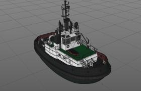 C4D工程模型:线条常量着色高光材质海洋救生艇(含贴图)