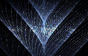 蓝白砖石粒子闪烁空间三维椎体旋转高清舞台LED视频素材