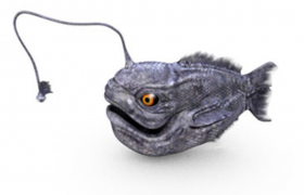 饥饿鲨卡通手机游戏NPC远古灯笼鱼C4D模型(含材质图片)
