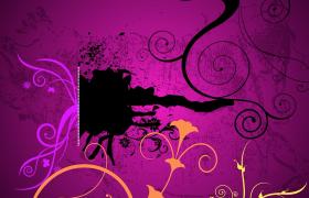 高贵神秘紫色背景曼妙多姿动态花纹装饰PR电子相册模板