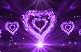 紫色烈焰爱心状燃烧光影粒子无规律演绎婚庆表白特效视频素材