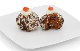 C4D飯后點心巧克力丹麥奶油椰子酥球模型素材下載