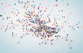 彩色图标小方块肆意滚动拼接企业宣传会声会影模板参考