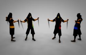 手持匕首的黑色布衣忍者卡通極夜寂靜村人物角色界面C4D模型