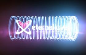 炫酷光效粒子三維螺旋環繞旋轉動態logo展示AE模板