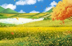 鮮花楓葉風中共舞彩繪藝術動態特效MP4秋季視頻素材下載