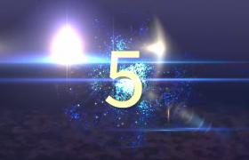 藍色晶體幻影旋轉數字伴隨閃爍光效震撼演繹5s倒計時MP4視頻素材