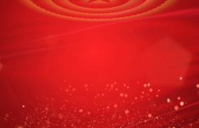 红绸飘拂背景粒子五角光斑原地循环上升HD党政视频素材下载