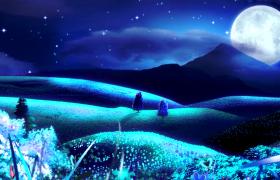夜晚月光点亮荧光草地彩色蝴蝶飞舞梦幻舞台LED背景