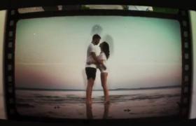 復古電視機翻轉電影膠片愛情故事演變過程電子相冊AE模板
