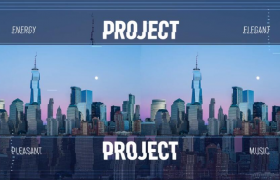 现代城市公益宣传像素拉丝转场特效蓝色背景图文展示Premiere模板