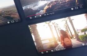 新媒體平臺多個鏡頭旅游視頻拼接展示片頭AE模板