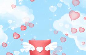 情书飞翔爱心气球蓝天飘逸婚庆表白视频素材下载