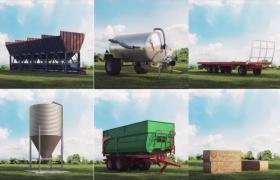 30组超现代美国大型农场农业机械一体化设备Cinema4d模型素材包下载