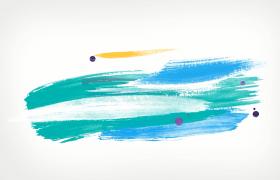 七彩水墨风格炫彩动态绘画转场清新创意电子相册PR模板